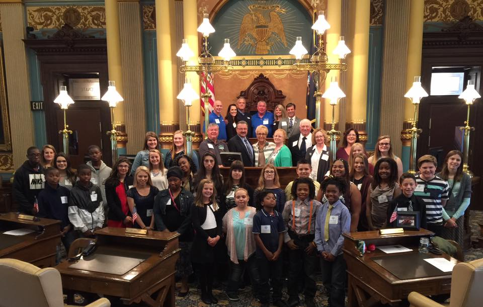 MI State Fair Scholarship winners on State Senate floor