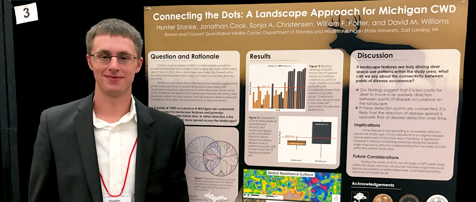 MSU student Hunter Stanke presented his joint research with David Williams, Sonja Christensen and Jonathan Cook from the Boone and Crockett Quantitative Wildlife Center in 2017 at the International Meeting of the Wildlife Society.