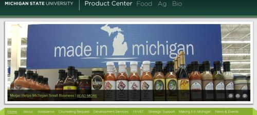 Image from the Product Center web page- Made in Michigan