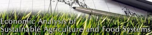 Image of an analysts pencil and paper with grass growing in backgroud to introduce the Economic Analysis of Sustainable Agriculture and Food Systems.