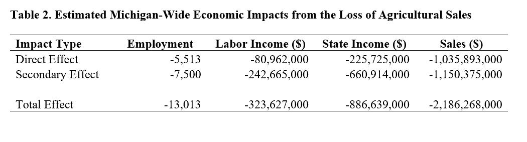 Table showing the monetary direct and secondary effects as a result of the loss of agricultural sales in the areas of employment, labor income, state income and sales.