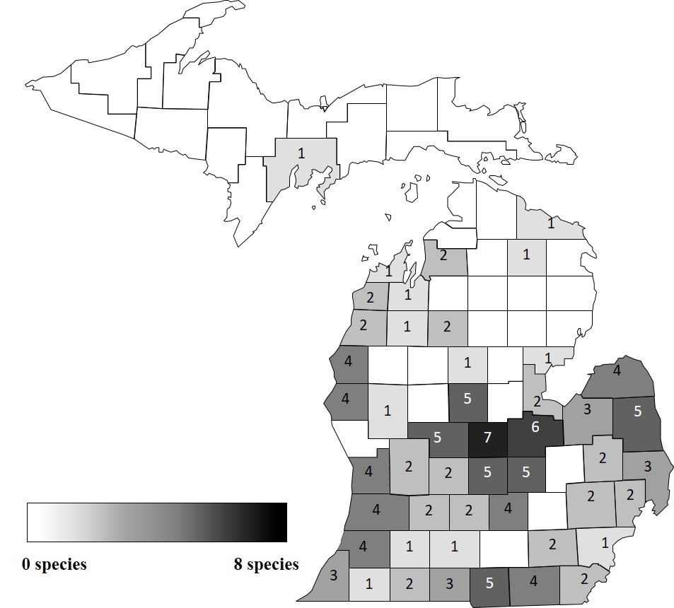 Map of distribution of confirmed herbicide resistant weed species
