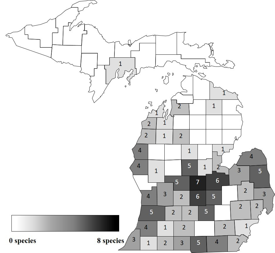 Distribution of confirmed herbicide resistant weed species in Michigan