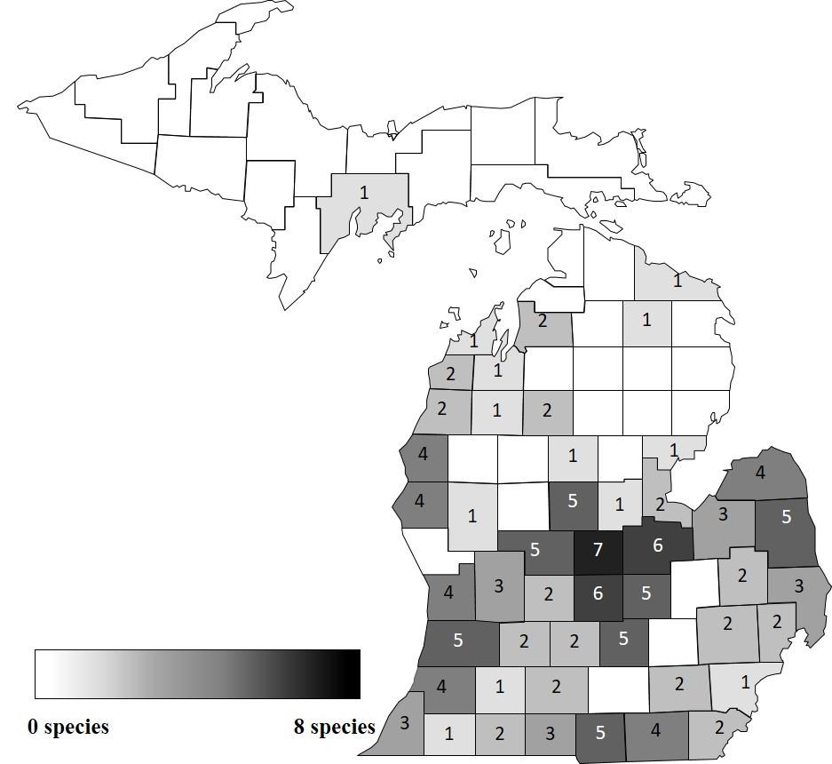 Distribution of confirmed herbicide resistant weed species in Michigan
