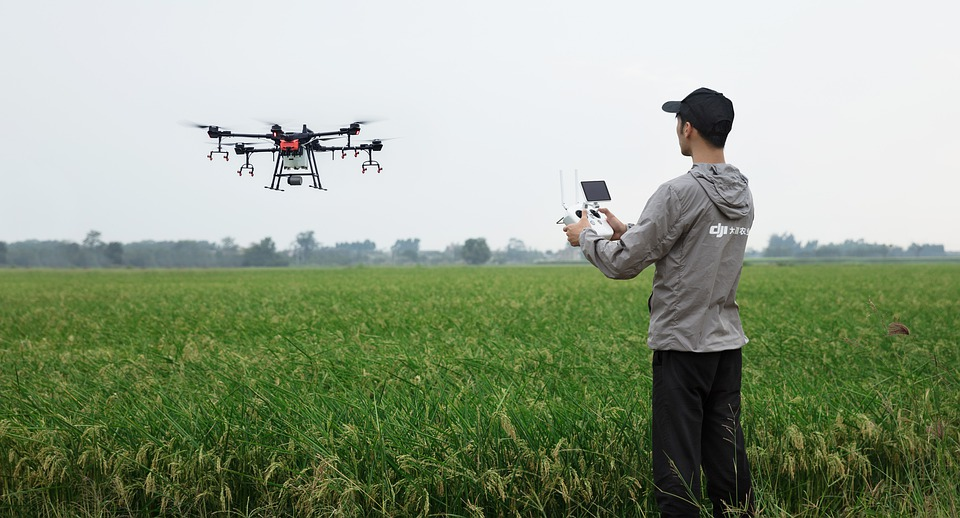 Flying a drone over a field