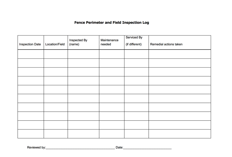 Fence Perimeter And Field Inspection Log Agrifood Safety