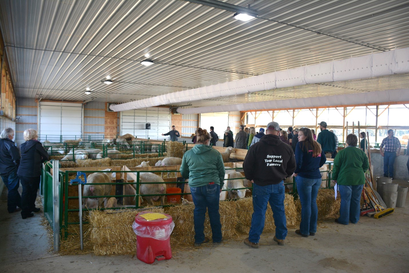 Visitors check out the improvements at the Sheep Teaching and Research Center.