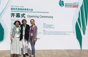Photo of Professor Joanne Westphal at the CELA Conference in Beijing, China 2017, with Dr. Chong Qing Liu and Dr. Chong Qing.