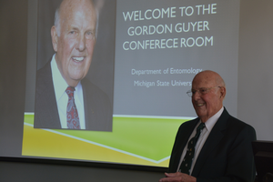 Gordon Guyer at the 2014 dedication of the MSU Entomology conference room in the Natural Science Building.