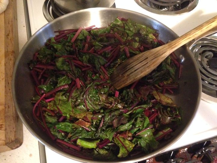 Sautéed beet greens, photo by Mariel Borgman