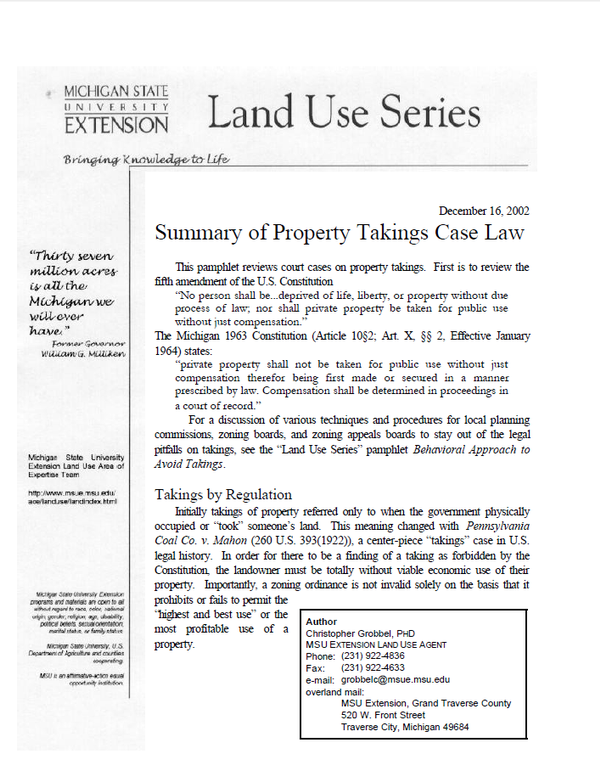 Summary of Property Takings Case Law - MSU Extension