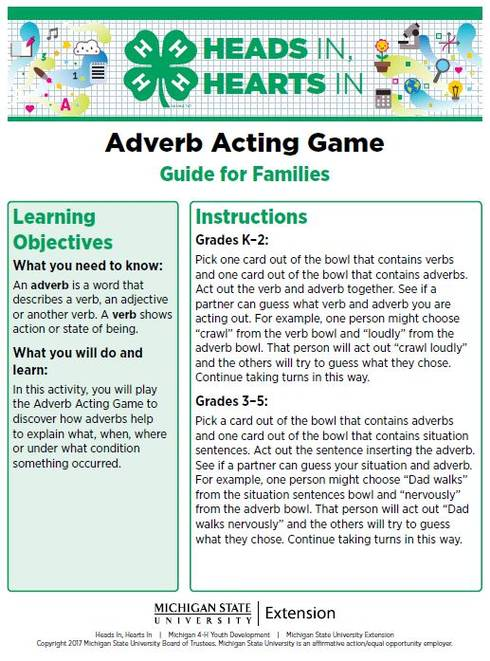 Adverb Acting Game cover page.