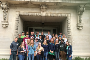 New AFRE Undergraduate Students standing in front of Justin S. Morrill Hall of Agriculture