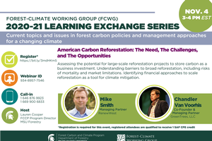 FCWG 2020-21 Learning Exchange Series Session: American Carbon Reforestation: The Need, The Challenges, and The Opportunities