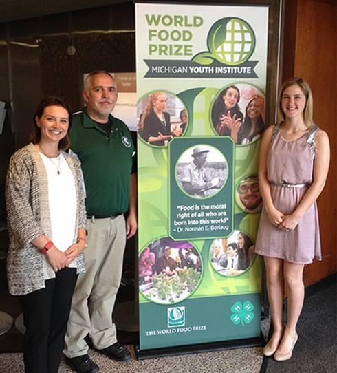 Makena Scultz, Reagan Gembarski and Kraig Ehm at the The Michigan State University Extension World Food Prize.