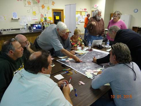 Village of Ontonagon residents and leaders discuss desired improvements to downtown and the marina; Photo credit: Brad Neumann