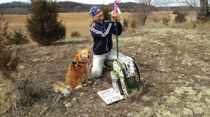 Conservation Steward volunteer Eddie Sullivan helps monitor grassland habitat at the Arcadia Dunes Dry Hill Grassland, one of many preserves owned and managed by the Grand Traverse Regional Land Conservancy.