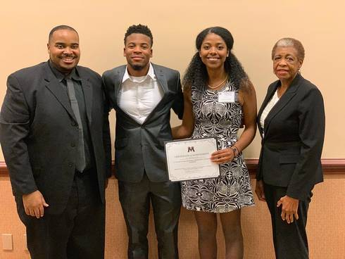 Phillip Seaborn, co-advisor and assistant director for undergraduate diversity in the MSU College of Agriculture and Natural Resources; Labrawn Wade, chapter president; Micah Cuevas, chapter member and winner of the MANRRS Region V impromptu public speaking contest; and Eunice Foster, co-advisor and MSU CANR professor.