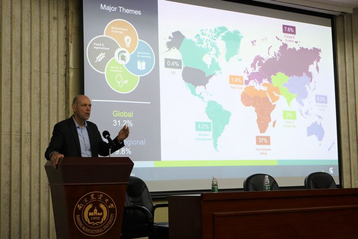 Steven Hanson, MSU associate provost and dean of International Studies and Programs, spoke at  Nanjing Agricultural University in China about the dual-degree agreement.