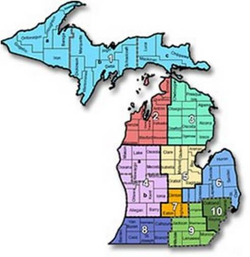 Map of prosperity regions across the state of Michigan.