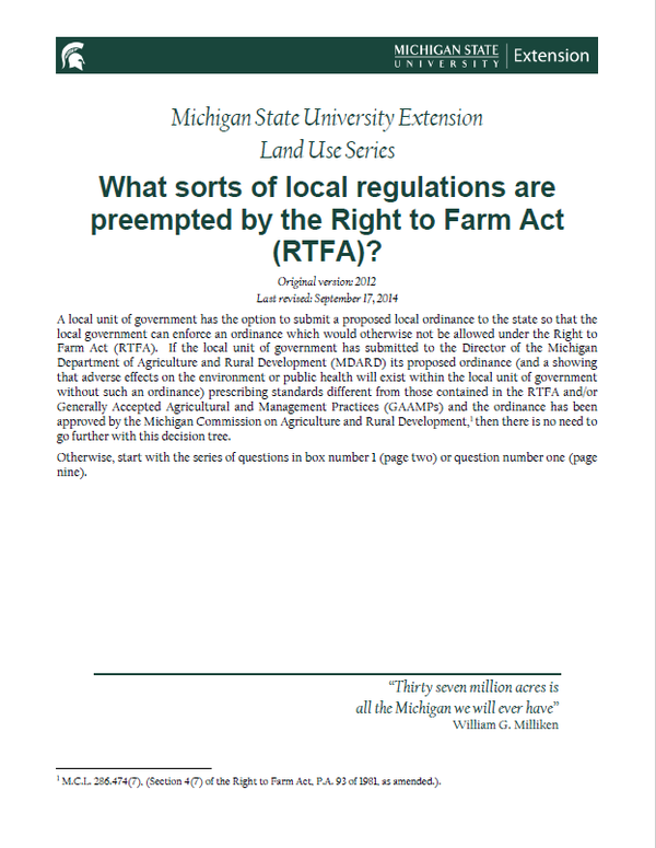 What Sorts Of Local Regulations Are Preempted By The Right To Farm Act Rtfa Planning