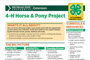 Michigan 4-H Cloverbud Snapshot Sheet: 4-H Horse & Pony Project (4H1727)
