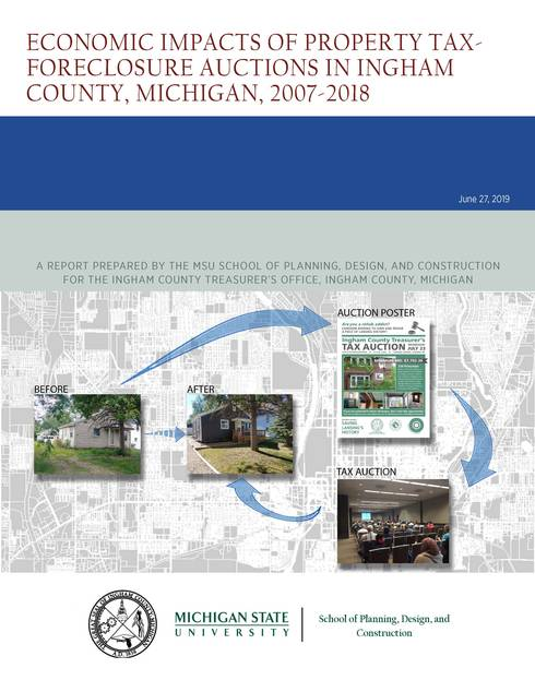 Front cover of the report showing before and after photos of a house that went through the auction process and resulting rehabilitation of the property to make it more valuable.