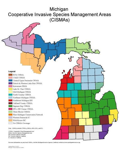 Michigan's Cooperative Invasive Species Management Areas (2016) are shown. There are 17 CISMAs in the state.