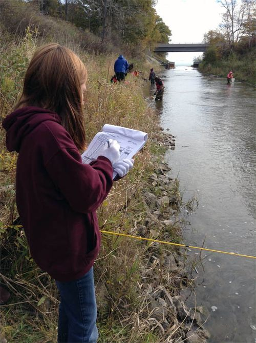 A student group-leader records data on the physical attributes of the river as classmates perform different tests in the background. Photo credit: NEMIGLSI