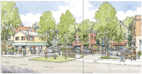 Rendering of a new pocket park on Third Street, City of Marquette's Third Street Corridor Sustainable Development Plan