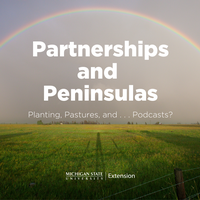 Image of Partnerships and Peninsulas title over a photo of a rainbow over a field.