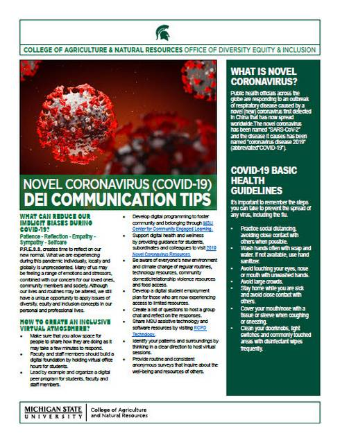 The CANR Office of Diversity, Equity and Inclusion developed some novel coronavirus (COVID-19) communication tips to share with the MSU community to help foster understanding and inclusion.