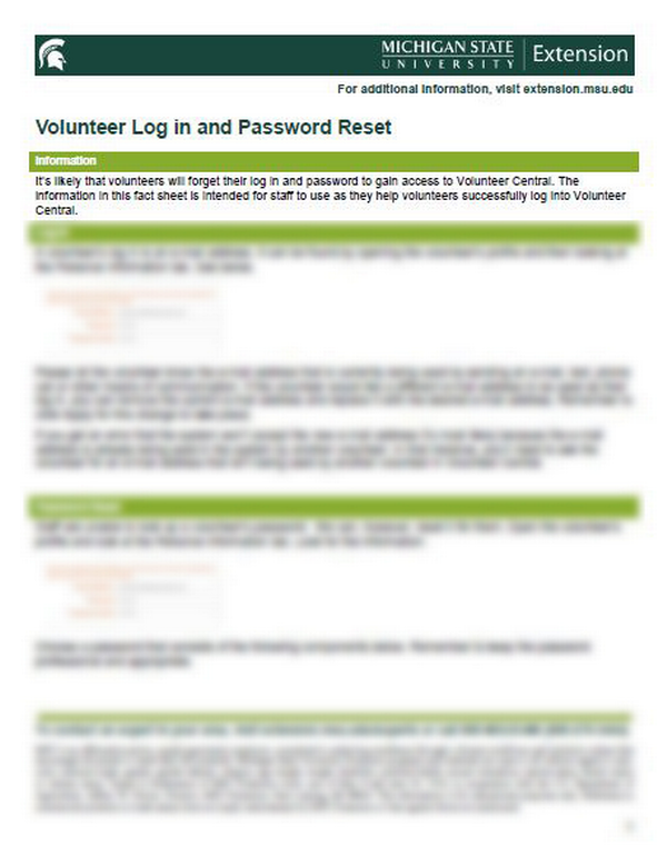 Thumbnail of Volunteer Central: Volunteer Log In and Password Reset document.