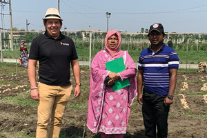 Phill is standing in a potato field in Bangladesh with two scientists from Bangladesh.