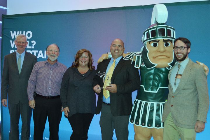 Award winners stand with Sparty and Jeff Dwyer.