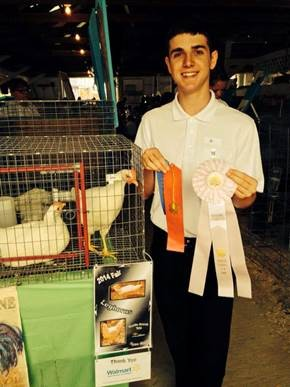 Michigan 4-H'er Ryan Rich with his poultry project.