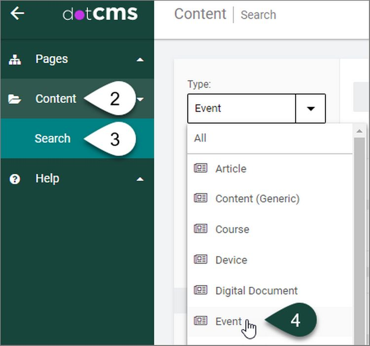 The dotCMS content dashboard with Type drop down menu showing the different content types that can be selected, such as Event.