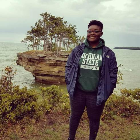 Stephanie Onwenu visits Turnip Rock in Port Austin, Michigan.