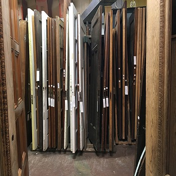 Recycled doors from Materials Unlimited in Detroit. Photo by Lucy Schroeder.