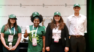 MSU Forestry undergraduate student Mia White, center left at the 2016 Sustainable Forestry Initiative Conference.
