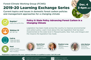 2019-20 Learning Exchange Series Flyer - State Policy Advancing Forest Carbon in a Changing Climate. Displays three speakers, their titles, and registration information for the webinar session.