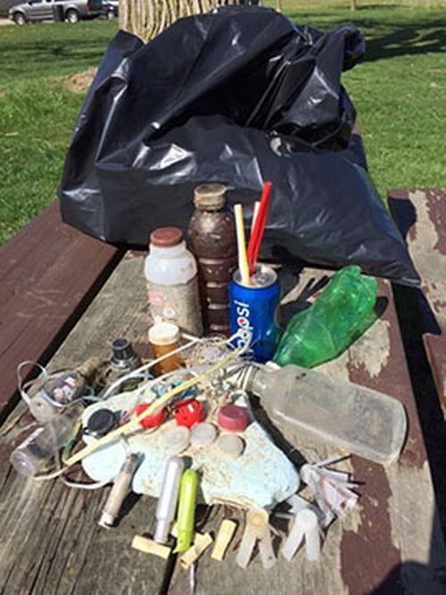 A sampling of some of the more common items my daughter and I collected on the shoreline of the Detroit River during the 2016 annual cleanup. Photo: Mary Bohling | Michigan Sea Grant