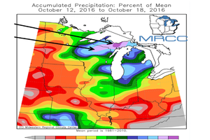 Map showing well above normal precipitation for Upper Michigan and Northern Wisconsin | Photo by: Midwest Regional Climate Center