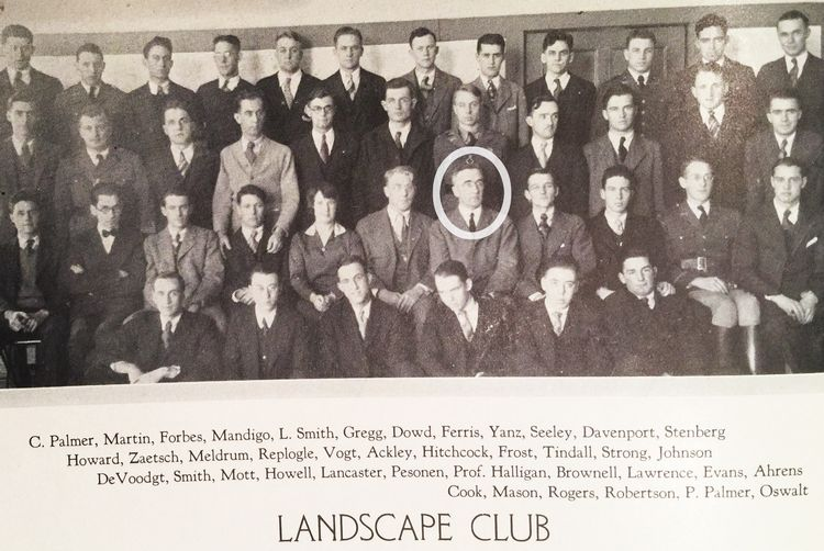 Old black and white photo of the Landscape club members, including Professor Charles Halligan.