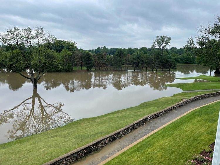Flooded golf course.
