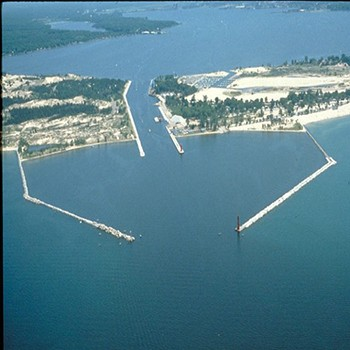 Port of Muskegon from the air. Photo by Wikimedia Commons.