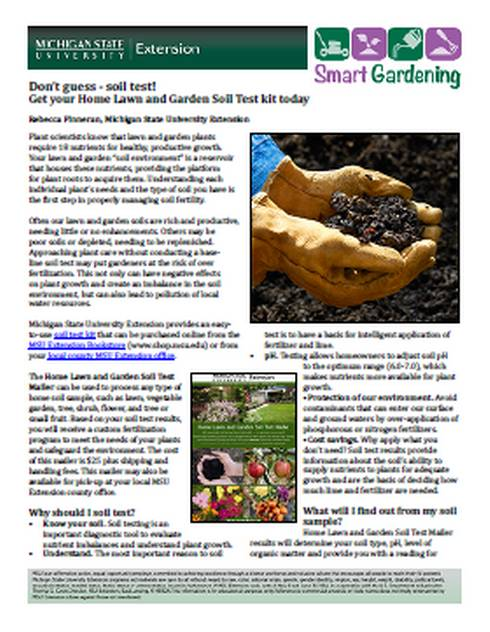 Don't guess - soil test tip sheet first page.