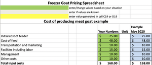 Freezer Goat Pricing Worksheet