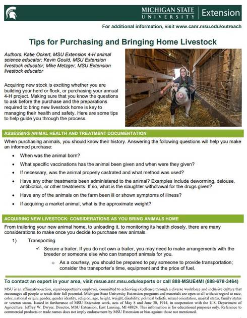 Tips for Purchasing and Bringing Home Livestock cover page.