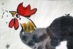 A watercolor rooster painting used in a past Michigan 4-H Children's Art Exchange with China program. Photo credit: Reiter family